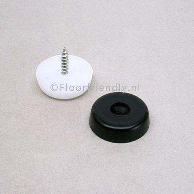 Nylon meubelglijder met schroef, kleur wit of zwart - Floorfriendly.nl